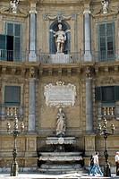 Building facade, Quattro Canti Square, Palermo, Sicily, Italy