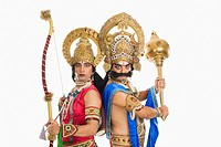 Two stage artists dressed_up as Rama and Ravana the Hindu mythological characters