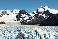 View of Perito Moreno Glacier and mountain backdrop in Los Glaciares National Park, Argentina
