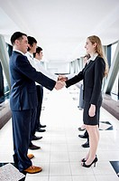Business people standing in a row and shaking hands together