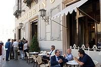 Café Gambrinus, sidewalk cafe at Piazza Trento a Trieste, Naples, Campania, Italy
