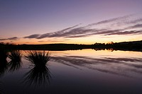 Sunset in winter at a loch near Garlogie, Aberdeenshire, Scotland