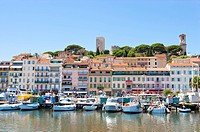 Harbor and Old Town in Cannes, Provence_Alpes_Cote d'Azur, France, Europe