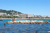 Beach and Coastline in Cannes, Provence_Alpes_Cote d'Azur, France, Europe