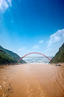 Wu Gorge Bridge on Yangtze River, Wu Gorge, Three Gorges in Yangtze River, China