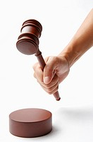 Human hand holding a gavel (thumbnail)