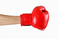 Close_up of human hands wearing a boxing glove