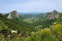 volcanic landscape near Orcival, rocks ´La Roche Tuiliere´ and ´Sanadoire´, France, Auvergne