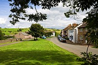 Main street and village green in the small village of Hesket Newmarket in the Lake District, Cumbria, England, UK, Europe