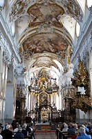 Baronial church, interior view, Amorbach, Hesse, Germany