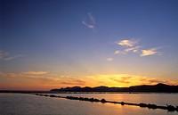 salt works of Ses Salines in the evening light, Spain, Balearen, Ibiza