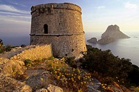 watchtower Torre des Savinar at the viewpoint Mirador des Savinar, Spain, Balearen, Ibiza