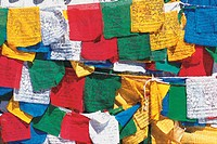 Colourful prayer flags hung on a line, Buddhismus, Kathmandu, Nepal