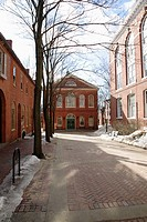 Old Town Hall in Salem, Massachusetts USA which is part of New England during the winter months