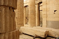 Columns in the Parthenon  Athens  Greece