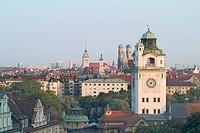 Munich Skyline with Muellersches Volksbad and Twin Towers of Frauenkirche, Munich, Bavaria, Germany