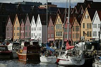 Row of wooden houses in the harbour district, Vagen, Brygge, Bergen, Hordaland, Norway