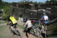 24 hours mountainbike race over the former area of the steel mill, Landschaftspark Nord, a former steel works. ,