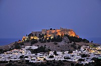 Acropolis and village of Lindos by night, Rhodes island, Greece