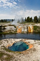A HOT SPRING near the FIREHOLE RIVER is one of thousands of thermal features in the park, USA, Wyoming, Yellowstone National Park