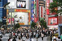 Japan, Tokyo: Shinjuku district. Shopping and amusement area at Shinkuju Dori street.