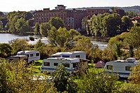camping place at Ruhr river in Hattingen with Birschel mill in background, Germany, North Rhine_Westphalia, Ruhr Area, Hattingen