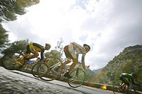 A group of cyclists, amateur cycle race, near Selva, Majorca, Balearic Islands, Spain