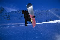 Snowboarder in the Halfpipe, Action, jump, Kaunertal, Tyrol, Austria