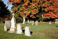 Saint Mary's Cemetery during the autumn months  Located in Portsmouth, New Hampshire USA, which is part of scenic New England