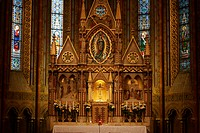 Altar in the impressive Matthias church in the old part of Budapest, Hungary, Europe