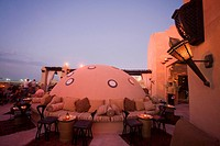 United Arab Emirates Dubai, One & Only Royal Mirage, Arabian court, five star Hotel at Jumeirah beach, Rooftop bar sunset
