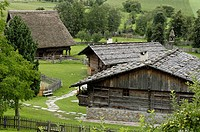 Farmhouse and hay barn in the South Tyrolean local history museum at Dietenheim, Puster Valley, South Tyrol, Italy
