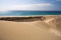 Dune on the waterfront in the sunlight, Playa de Satovento de Jandia, Parque Natural de Jandia, Jandia peninsula, Fuerteventura, Canary Islands, Spain...