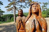 Wooden sculptures at the chapel on the Saint Michael hill, Lake Balaton, Hungary, Europe