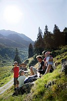 Family on pasture, Val di Fleres, South Tyrol, Trentino_Alto Adige/Suedtirol, Italy