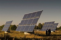 Solar modules in a testing ground