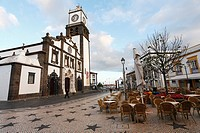The Mother Church Igreja Matriz, in the azorean city of Ponta Delgada  Sao Miguel island, Azores islands, Portugal