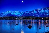 View of moonrise over Haines from Portage Cove, Southeast Alaska, Summer
