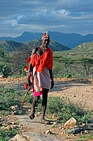 Portrait of Samburu warrior, Kenya, Africa
