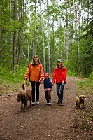 Family walking their dogs along the trail to Thunderbird Falls, Eklutna, Southcentral Alaska, Summer
