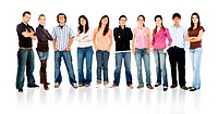 row of smiling young people in casual clothing