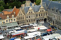 Market day at the Main Market Square, Veurne, Belgium