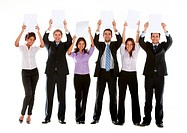 group of business people holding white cardboards to fill in
