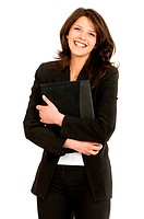 attractive brown_haired businesswoman standing, holding a briefcase