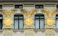 Adornments and windows, Wienzeilenhhaus by Otto Wagner, Naschmarkt, Vienna, Austria