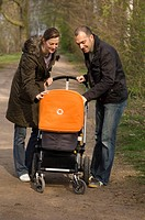 Young family with pram