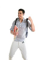 Happy student jump with college stuff in hand isolated on white