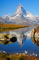 At lake Stellisee near Zermatt, Mt Matterhorn in the background, Zermatt, Valais Switzerland