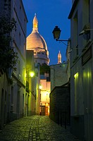 alley at Montmartre with Sacre Coeur, France, Paris
