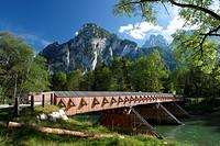 Bridge crossing Enns river, Austria, Styria, Gesaeuse Nationalpark, Wengen